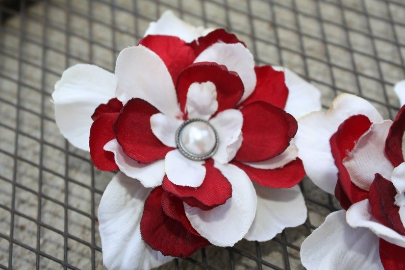 Dark Red and Cream Flower Shoe Clips-Toddler Flower Shoe Clips-WomenBridal Flower Shoe Clips-Red-CreamPearl