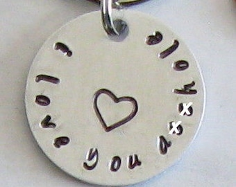 cf36f889c4 Quirky funny couples gift, I love you asshole key chain, hand stamped, his  or hers, best friend