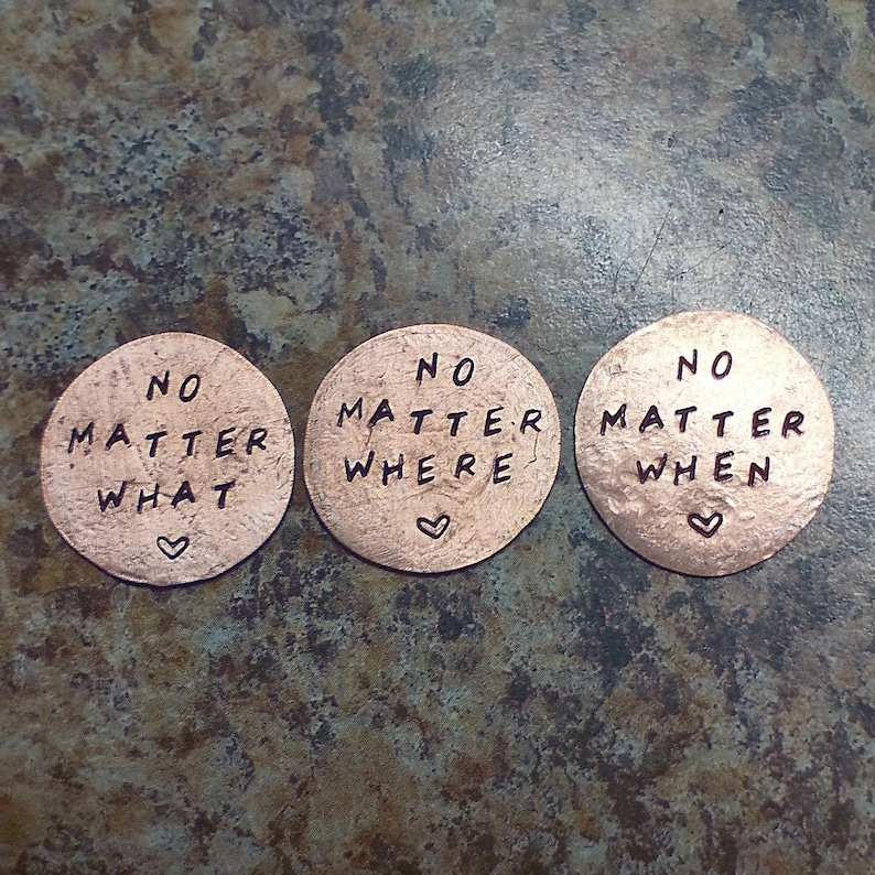 Penny pocket charm set hand stamped lucky penny tokens image 0