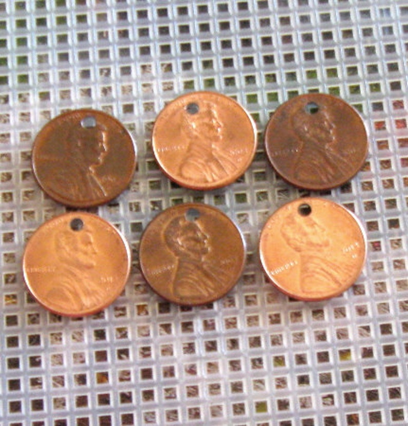US penny charms, stamping supplies, copper stamping disc, top drilled  pennies