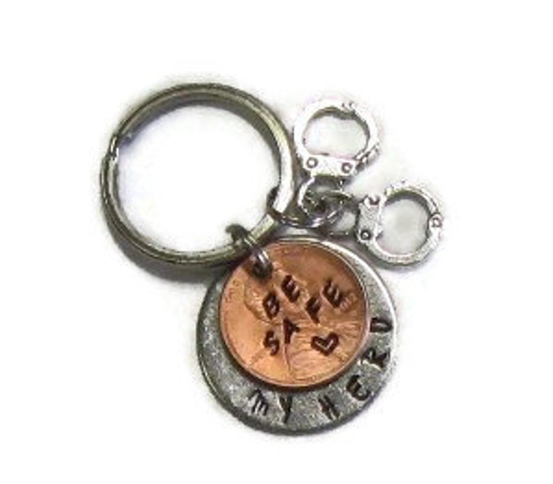 Police officer be safe key chain law enforcement gift hand image 0