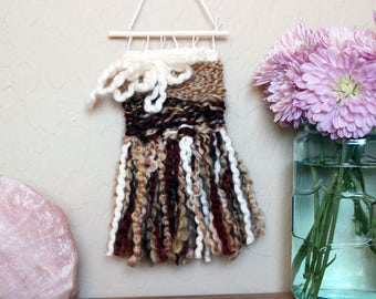 Fringe Wall Hanging - Fun Textural Handwoven Tapestry - Neutral Brown Tone Weaving - Mini Sized Wall Hanging - Gift for College Students