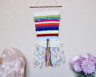 Rainbow Stripes Woven Wall Hanging - Multicolor Handwoven Tapestry - Small Weaving - Colorful Stripe Wall Art - Bohemian Woven Tapestry