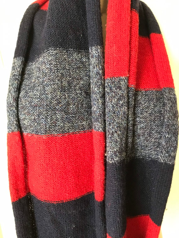 100% wool red and blue striped Pendleton scarf - image 2