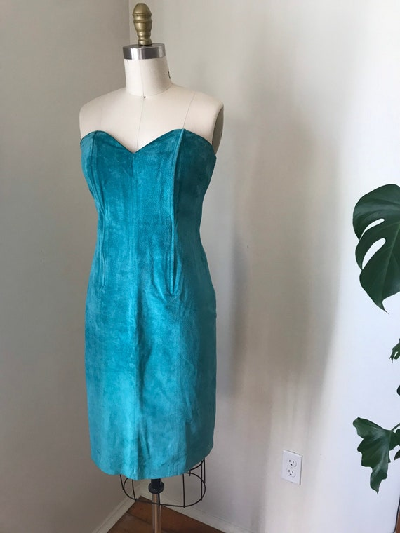 soft teal suede strapless dress knee length sweeth