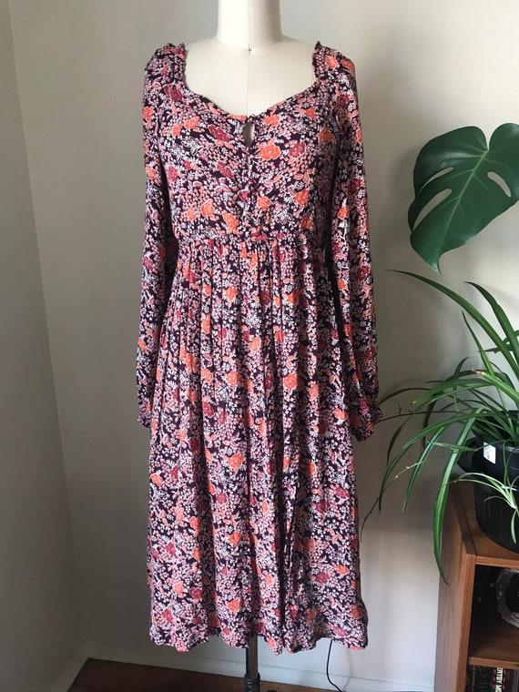 floral boho midi dress with poet sleeves size M