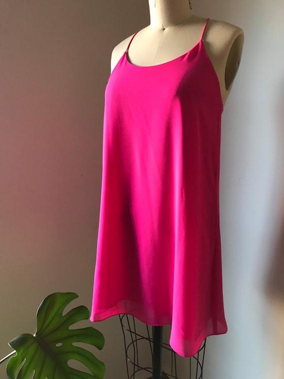 hot pink shift mini dress size small spaghetti str