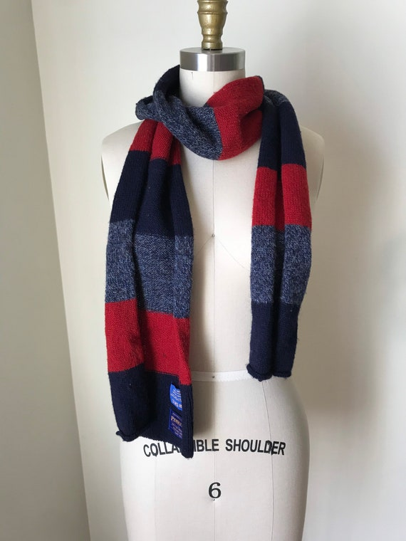 100% wool red and blue striped Pendleton scarf - image 1