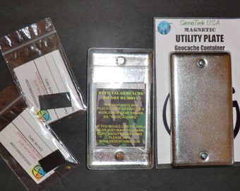 2 Magnetic Utility Electrical Plate Geocache Containers. Great for Urban Cache Hides! Features 2 Strong Neodymium Magnets & RITR Logs.