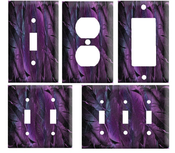Purple Feather Design Decorative Light Switch Cover Plate Etsy