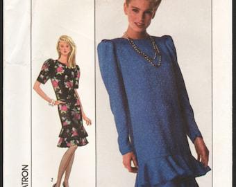 1980s Vintage Sewing Pattern Simplicity 8948 Misses Flounce Dress - Size 14 16 18 Bust 36 38 40 UNCUT