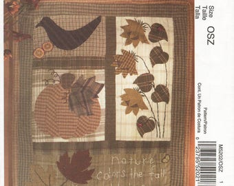 Craft Sewing Pattern McCalls M5202 Quilt Blocks Autumn Fall Pumpkin Wall Hanging Designer Cheryl Haynes UNCUT