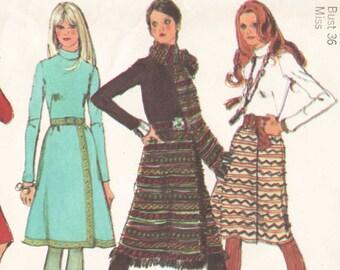 1970s Dress Pattern Boho Dress with Fringe Hem Wrap Skirt and Scarf Vintage Sewing Pattern Simplicity 9576 Size 14 Bust 36 - UNCUT