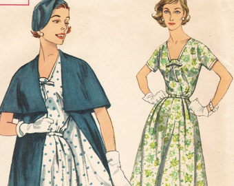 1950s Vintage Sewing Pattern Simplicity 1971 Misses Cape Coat and Dress with Shaped V Neck - Plus Half Size 16.5 Bust 37