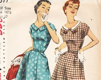 1950s Vintage Sewing Pattern - Misses Rockabilly Dress with Short Sleeves, Flared Skirt - Simplicity 1577 - Half Size 16.5 Bust 37 UNCUT