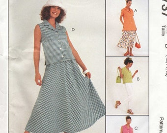 Misses Sewing Pattern McCalls 8737 Separates - Tunic Top, Gathered Skirt, Pull On Pants - Size 12 14 16 Bust 34 36 38 UNCUT