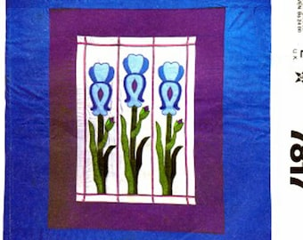 Craft Sewing Pattern McCalls 7817 Quilt Stained Glass Iris Flower Quilt Size Full Queen UNCUT