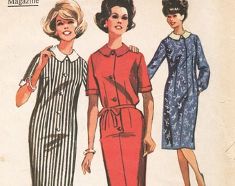 1960s Vintage Sewing Pattern McCalls 7183 Misses Womens Sheath Dress Peter Pan Collar - Size 12 Bust 32