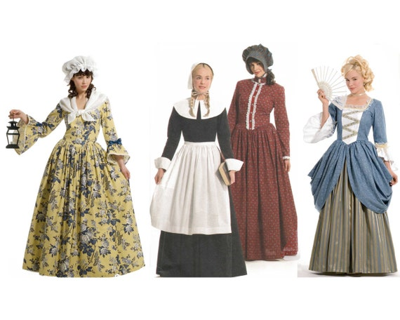 Colonial Dress Costume Pattern Pilgrim Prairie 40th 40th Etsy Fascinating Colonial Dress Patterns