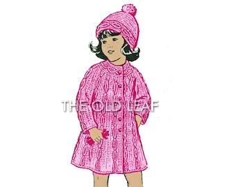 Vintage Crochet Pattern for Girls Mock Cable Knit Coat & Hat, Design 7129