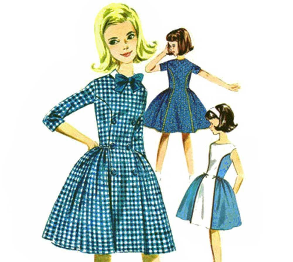 1960s Girls Princess Seam Dress Pattern Contrast Panel Party Dress ...