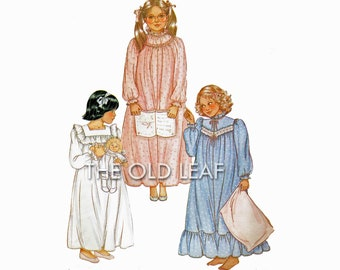 Sewing Pattern for Toddler & Little Girls Nightgown, McCalls 8343, UNCUT