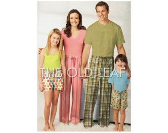 Sewing Pattern - Matching Family Pajama Pants & Sleep Shorts, Easy Simplicity 1520, UNCUT
