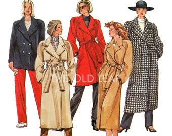 Sewing Pattern for Long Winter Coat, Raincoat or Peacoat, Simplicity 8683, UNCUT