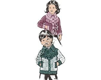Vintage Crochet Pattern for Boys & Girls Western Jacket, Design 400