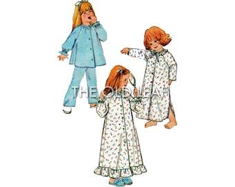 Vintage Sewing Pattern - Toddler Girls Pajamas, Nightgown & Robe, Simplicity 9250, UNCUT