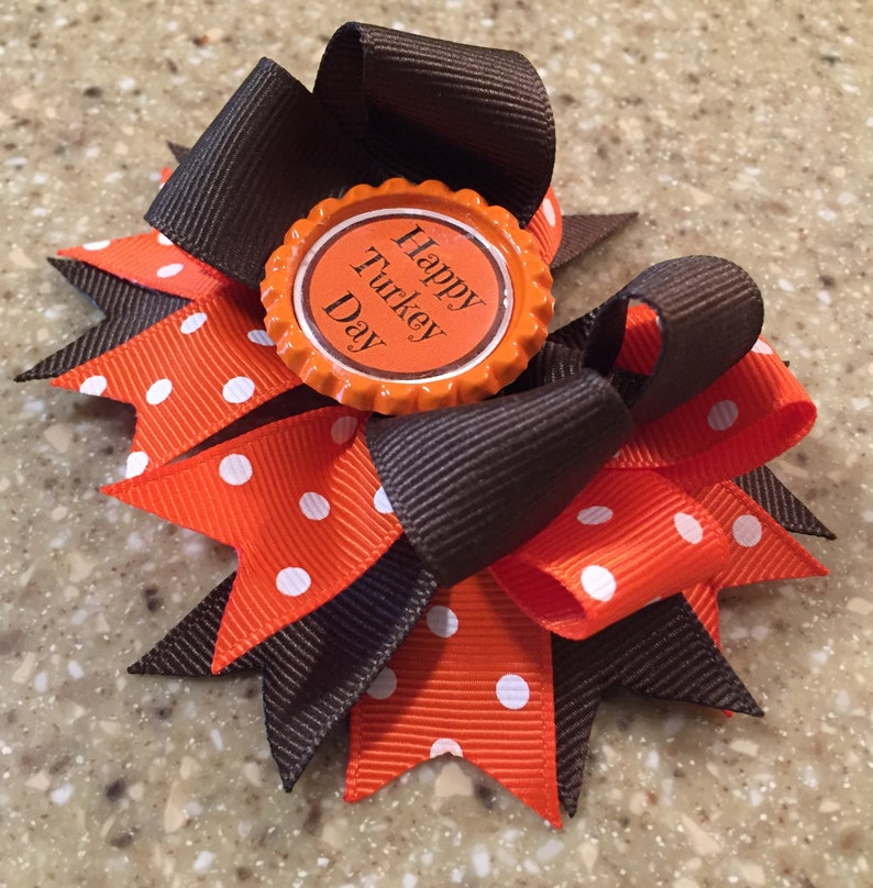 "Black /& Orange Polka Dot Trick or Treat Bottle Cap Hair Bow 4 1//2/"""