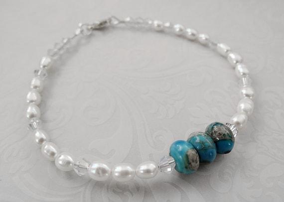 Blue Ocean Jasper Pearl Bridal Bracelet Pearl Bracelet Bridal Bracelet Beach Wedding Jewelry Jasper Jewelry Birthstone Jewelry Gift For Her
