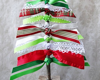 Green Ribbon Tree, Home Decor, Christmas Decor, Green Home Decor, Rustic Decor, Christmas Tree,Christmas Decoration, Christmas Table, Mantle