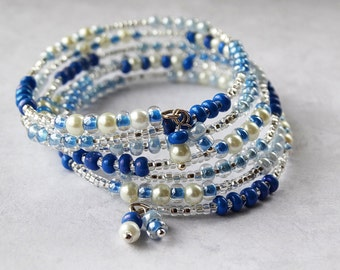 Blue Wrap Bracelet, Blue Jewelry, Pearl Bracelet, White Jewelry, Jewelry Gift, Beaded Bracelet, Silver Bracelet, Boho Bracelet, Gift For Her