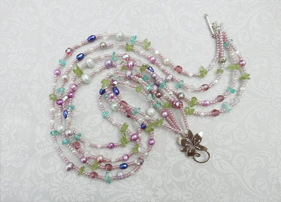 4Strands19/'/' 7MM Rice Gray Lavender  Freshwater Pearl Clear Crystal Necklace