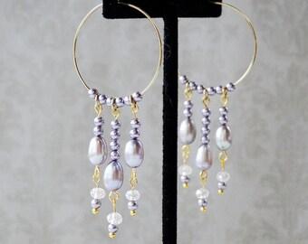 Lilac Pearl Hoop Earrings, Wedding Jewelry, Purple Jewelry, Gemstone Jewelry, Pearl Earrings, Gold Jewelry, Birthstone, Statement Earrings