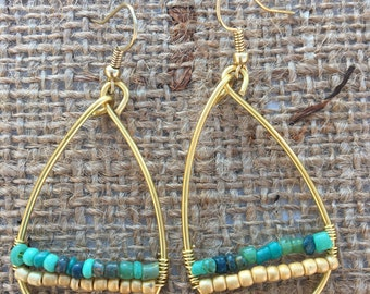 Tear drop hoop wire wrapped earrings with beaded accents