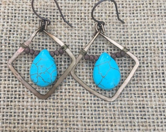 Copper earrings with turquoise-colored beads