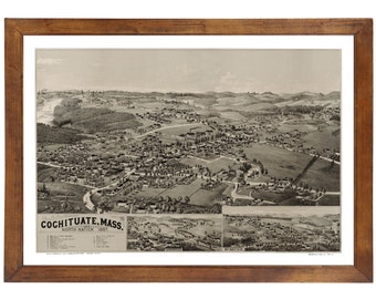 Cochituate & N. Natick, MA 1887 Bird's Eye View; 24x36 Print from a Vintage Lithograph