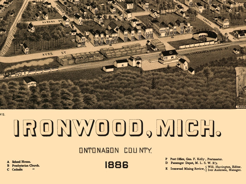 MI 1886 Bird/'s Eye View; 24x36 Print from a Vintage Lithograph Ironwood