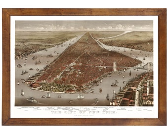 New York, NY 1884 Bird's Eye View; 24x36 Print from a Vintage Lithograph