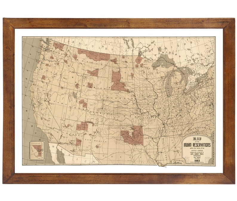 Map Of Indian Reservations Of Us Population Published In Etsy - Map-of-reservations-in-us