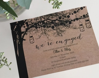 Engagement Invitation | Printable Engagement Invite | Custom Printable Engagement Party Invitation | Tree Lights - Vintage Tree Design