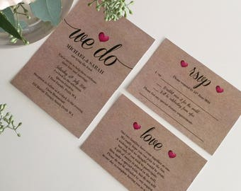 Wedding Invitation | Printable Wedding Invitation Set | Wedding Invite | Printable Wedding Invite | 'We Do Heart' Design