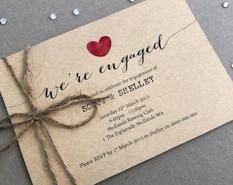 Printable Engagement Party Invitation   Engagement Party Invite   Engagement Invite - Calligraphy Heart Design