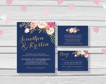 Wedding Invitation   Printable Wedding Invitation Set   Wedding Invite   Printable Wedding Invite    Navy Floral Bouquet