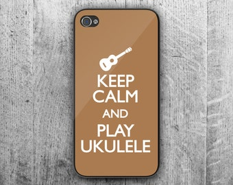 Keep Calm and PLAY UKULELE phone case. Case For - iPhone 4/4S - iPhone 5/5S - iPhone 5C - iPhone 6/7 - iPhone 6/7 Plus. Novelty. Gift.