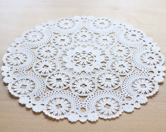 """10 White 10"""" Round Medallion Doilies. French Lace Paper. Use for Placemats, Invitations, Bombonieres, Favors"""