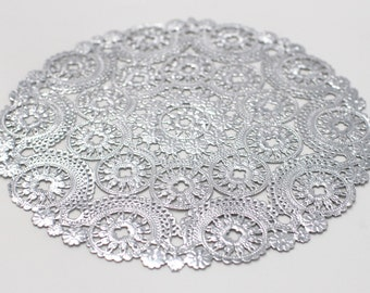 """10 Metallic Silver 10"""" Round Medallion Doilies. Foil Lace Paper. Use for Placemats, Invitations, Bombonieres, Favors"""