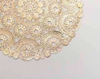 "50 Metallic Gold 10"" Round Medallion Doilies. Foil Lace Paper. Use for Placemats, Invitations, Bombonieres, Favors"
